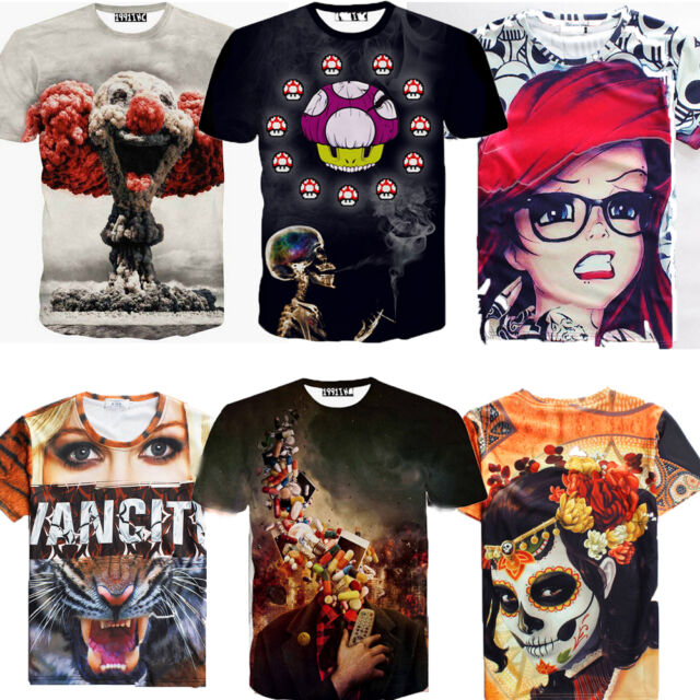 2015 Women Men 3D Print  Sexy Skull T-shirt Sports Casual Short Sleeve Top Tees