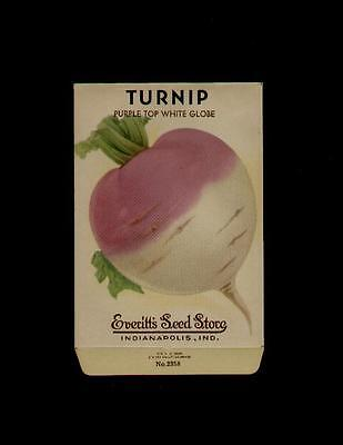 1940's TURNIP PURPL WHITE LITHO SEED PACKET - EVERITT'S SEED, INDIANAPOLIS,IND