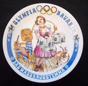 Orig-Porzellanteller-Olympische-Spiele-MUNCHEN-1972-Bayrische-Disziplin-C