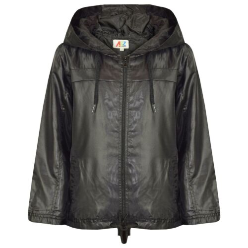 Kids Girls Boys Black Hooded Raincoats Cagoule Lightweight Jackets Rain Mac 5-13
