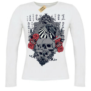 Sunrise T-Shirt japanese skulls roses crow chinese gothic Womens Ladies V-Neck
