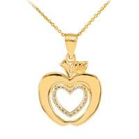 10k Gold Apple Heart Love Open Pendant Necklace