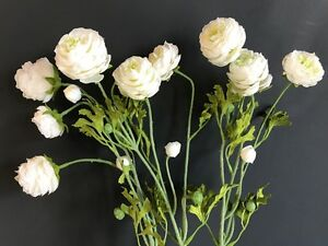 Bunch of faux silk white ranunculus flowers realistic artificial image is loading bunch of faux silk white ranunculus flowers realistic mightylinksfo