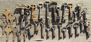 30-Assorted-Antique-Keys-Furniture-Padlock-Skeleton-Cabinet-Mortise