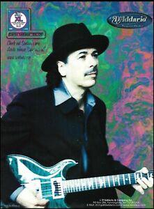 Carlos Santana D'Addario Strings on PRS guitar advertisement 2000 ad print