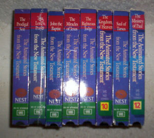 8 VHS lot (2 NEW) Nest Living History Animated Stories from the New Testament
