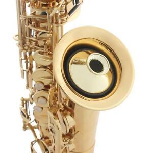 Professional-Alto-Saxophone-Sax-Mute-Sound-ABS-Dampener-Silencer-Black-Gold