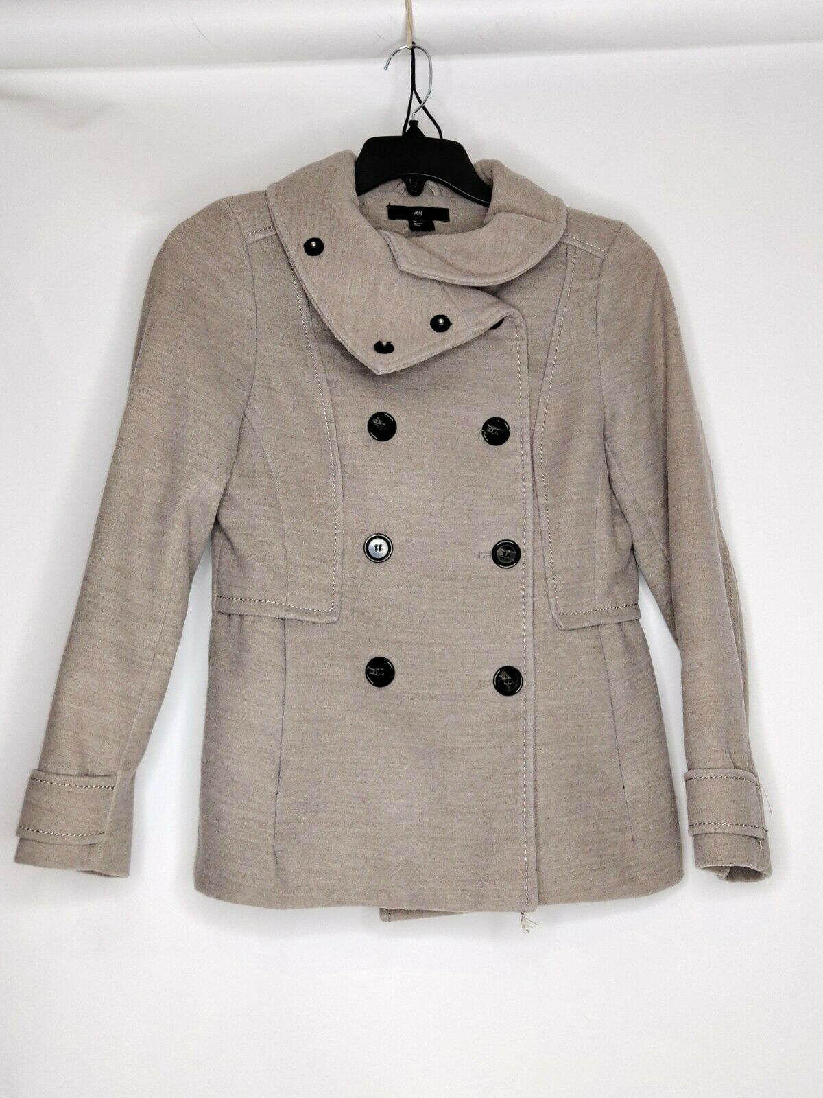 H&M Womens Size 6 Color Beige Double Breasted Big Button Long Sleeve Casual Coat