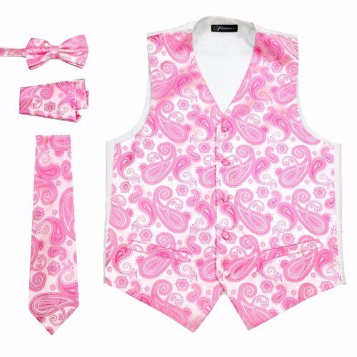 Pink Paisley 4 Piece Set Prom Wedding Fashion Tuxedo Vest Tie TUXXMAN Homecoming