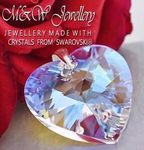 925-Sterling-Silver-Pendant-Crystals-From-Swarovski-HEART-Crystal-Blue-AB-28mm