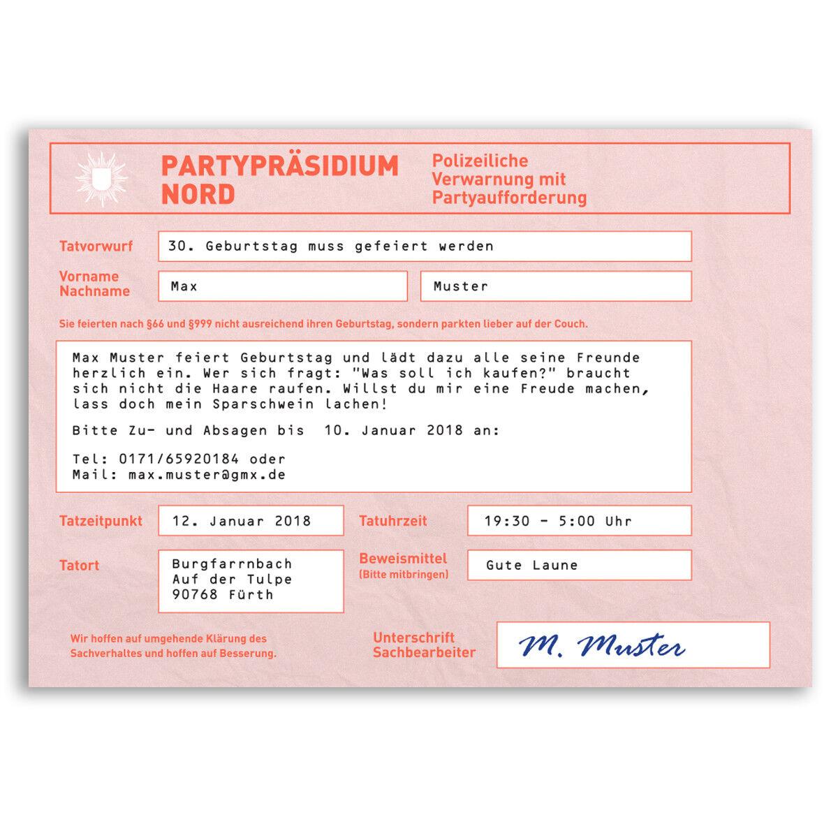 Einladungskarten zum Geburtstag als Strafzettel Auto Polizei Einladung Einladung Einladung | Online-verkauf  | Vogue  3cfe5b