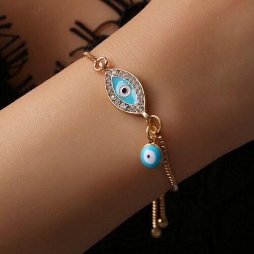 Turkish Blue Evil Eye Crystal Bracelet Adjustable /& Bangles Women Jewelry Charm!