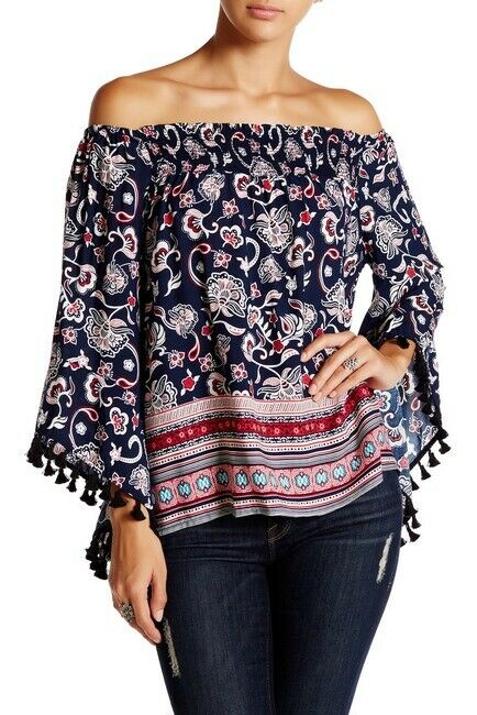 ROMEO & JULIET Off the Shoulder Weiß Long Sleeve Top Blouse Größe MEDIUM NWT