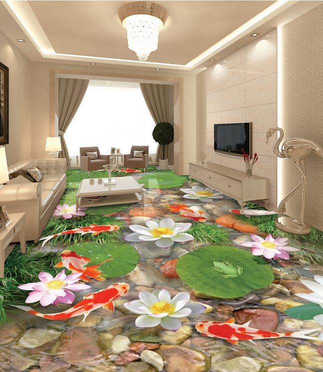 3D Lotusteich 566 Fototapeten Wandbild Fototapete Tapete Familie DE Lemon