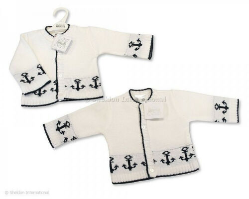 24 months Baby Boys Clothes Nautical Sailor cardigan white blue NB