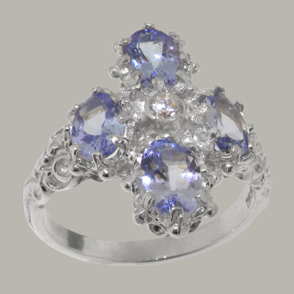 9ct White gold Natural Diamond & Tanzanite Womens Cluster Ring - Sizes J to Z