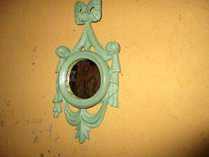 Miroir-Ancien-Recyclee-Taille-Joli-Couleur-Vert-Nice-Restored-Old-Mirror