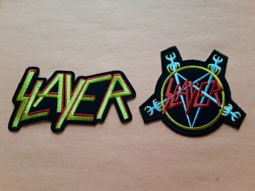 TWO SLAYER PATCHES SEW IRON ON CLASSIC ROCK MUSIC a