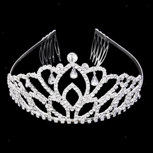 Wedding Diamante Teardrop Crown Headband Hair Comb Tiara Headpiece Pageant