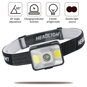 USB Induction Headlamp Rechargeable Head Torch CREE LED Headlight Lamp Camping