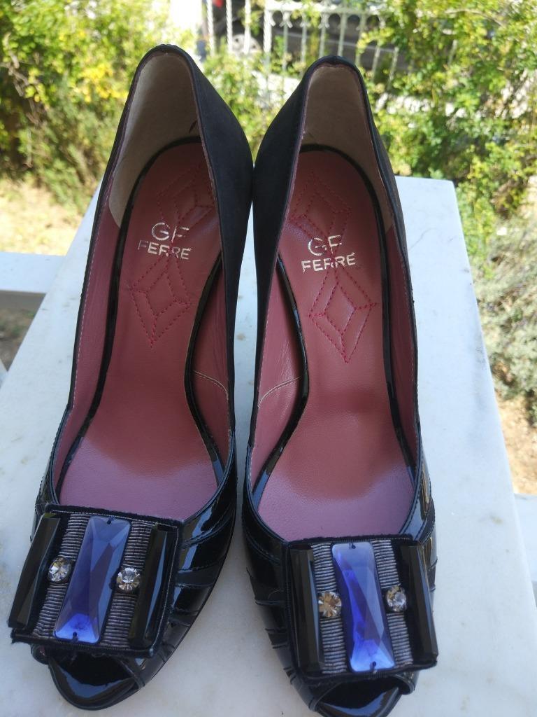BNWT Ferre Cuero Tribunal Zapatos Tacón Tacón Tacón Alto Punta Abierta Zapatos s.40 UK 7 nos 9  venta mundialmente famosa en línea
