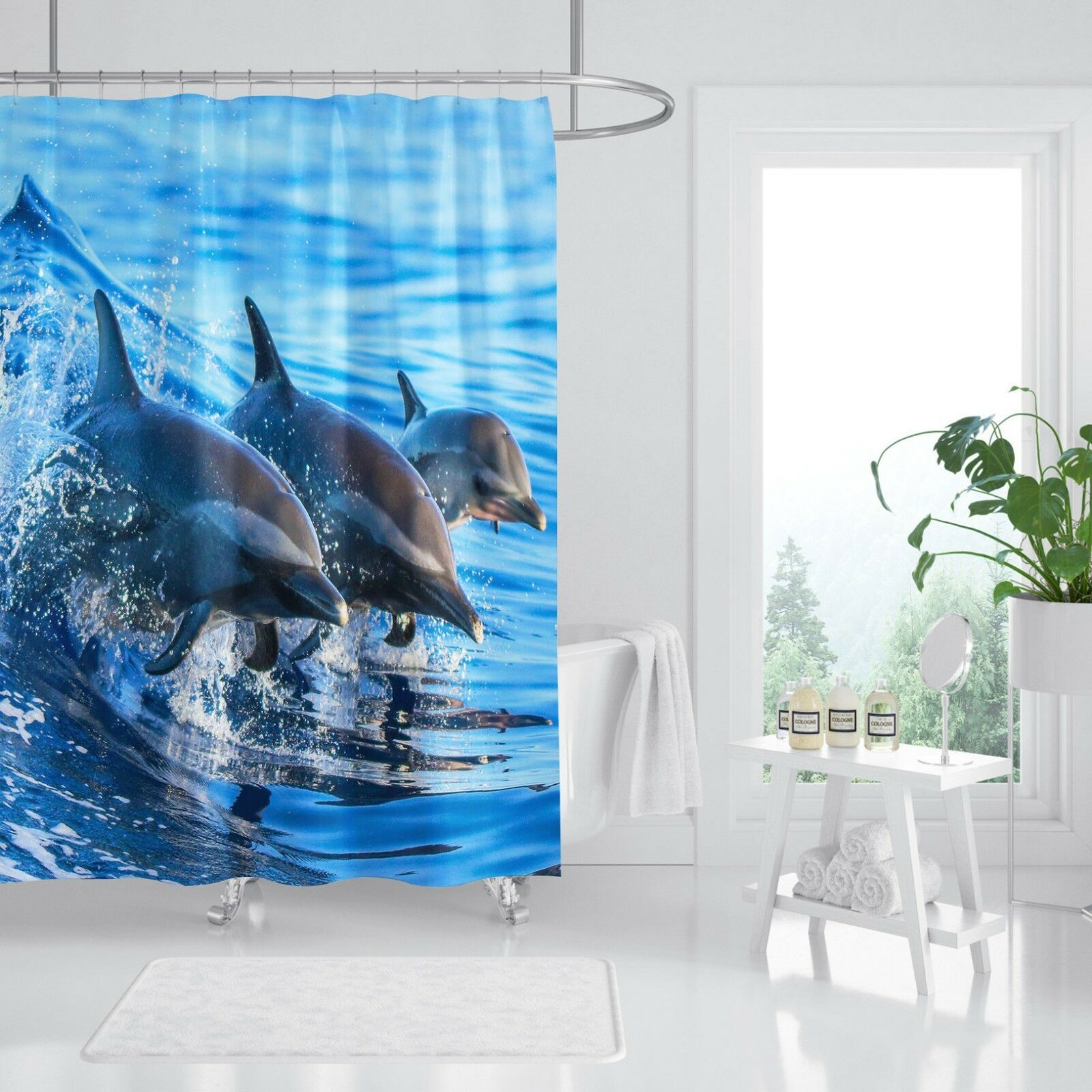 Océano Delfín 3D 44 Fibra Impermeable Baño Cortina de Ducha Baño Hogar Windows