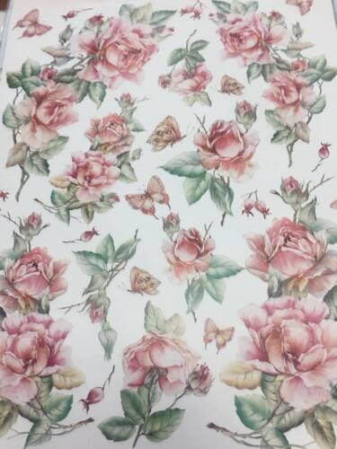 812 carta per Decoupage Decomania cm 30x40 con rosa rosa cod