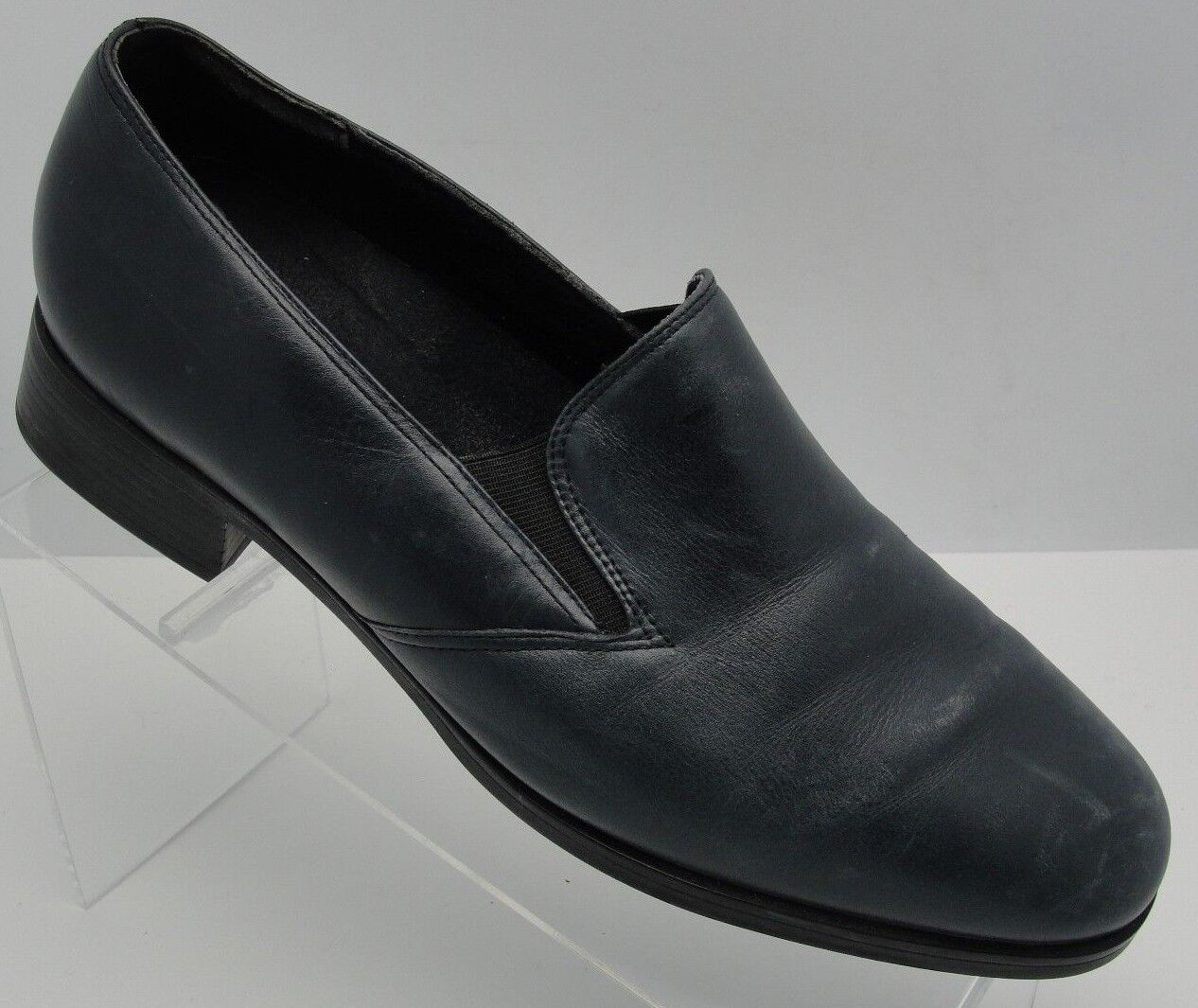 Munro American Women Sz 9.5 Walking Block Heel Casual Navy Leather Stretch shoes