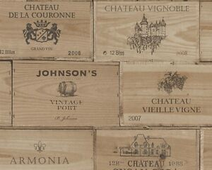 Image Is Loading Brown Wooden Crates Wallpaper Vintage Retro Wine Box