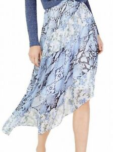 INC Womens Blue Size 12 Snakeskin Printed Chiffon Asymmetrical Skirt $89 372