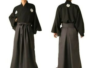 Japanese-Ryoma-Sakamoto-Samurai-costume-Men-039-s-Kimono-Jacket-amp-Hakama-Pants-Set