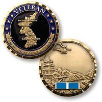 Korean War Veteran Challenge Coin Map Campaign Ribbon Army Marine Vet Korea