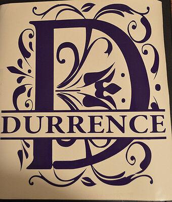 Initial Monogram Split Letter vinyl decal, Custom Name added