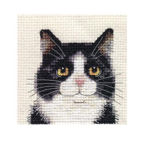 KITTEN ~ Full counted cross stitch kit BLACK /& WHITE CAT All materials
