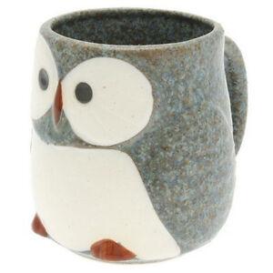 Kotobuki-Japanese-3-7-8-034-H-Porcelain-Blue-Owl-Tea-Cup-Mug-113-754-Made-In-Japan
