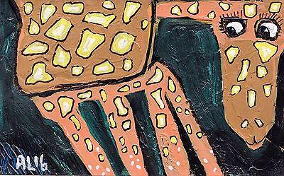 Original LABEDZKI abstract figurative painting outsider  NEW YORK GIRAFFE 5x8