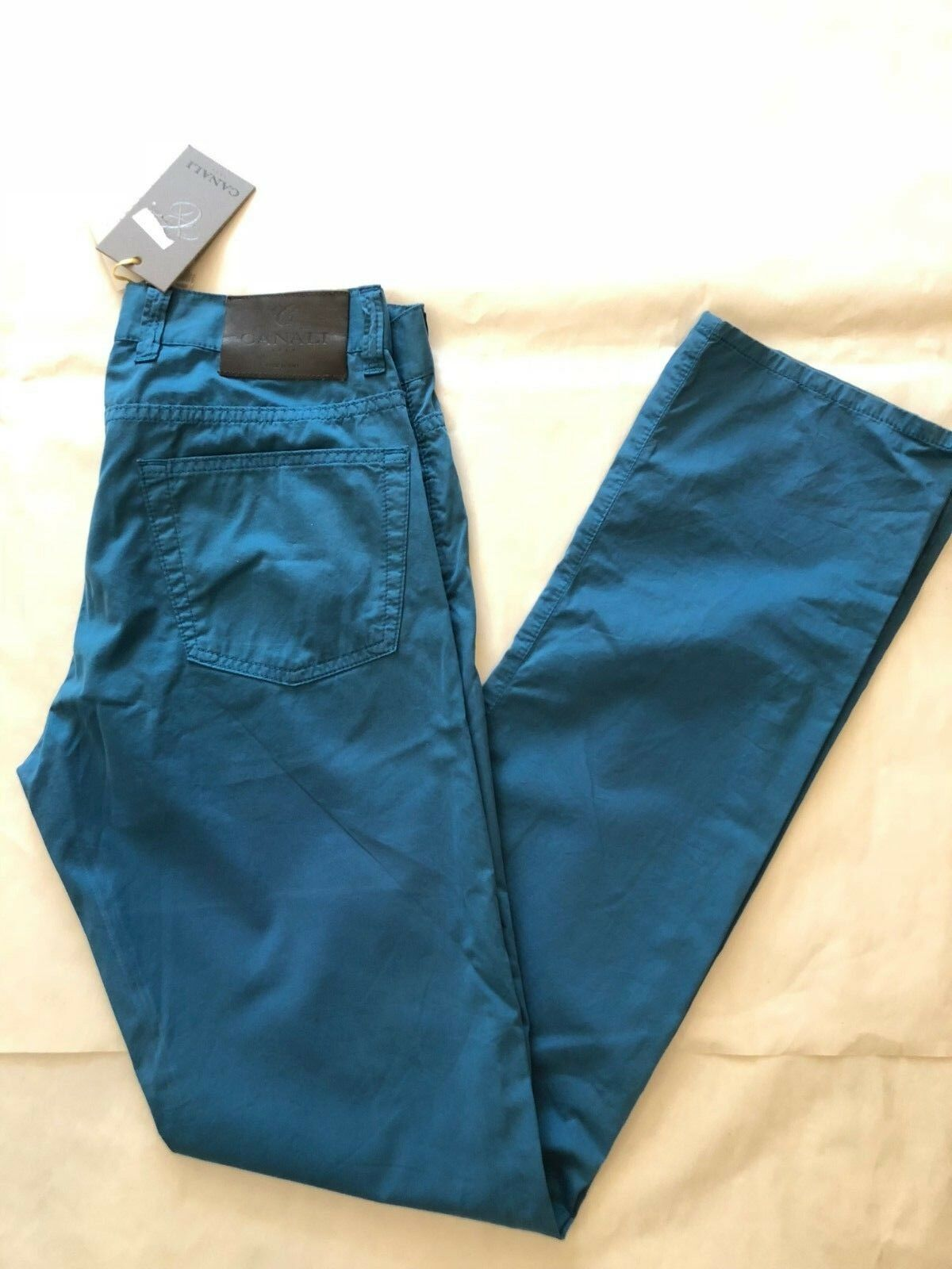 NWT  CANALI Men's Cotton Light Weight Casual Pants bluee Sz 32 X 34