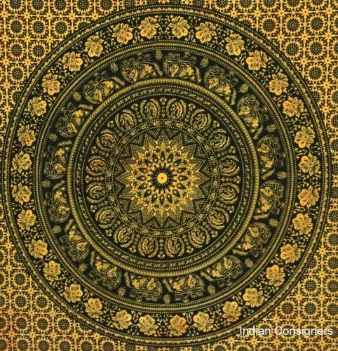 Small Square Flower Poster Tapestry Wall Hanging Indian Mandala Ethnic Hippie