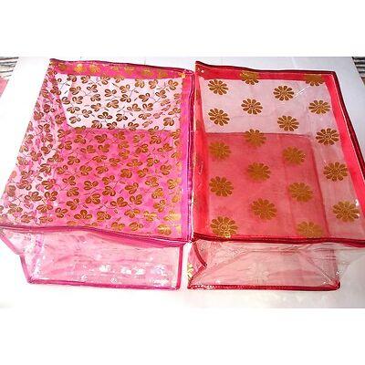 ( 2 Pc )Oneside Clear Plastic Clothes Sari Saree Garment Storage,Cover Box,Bags