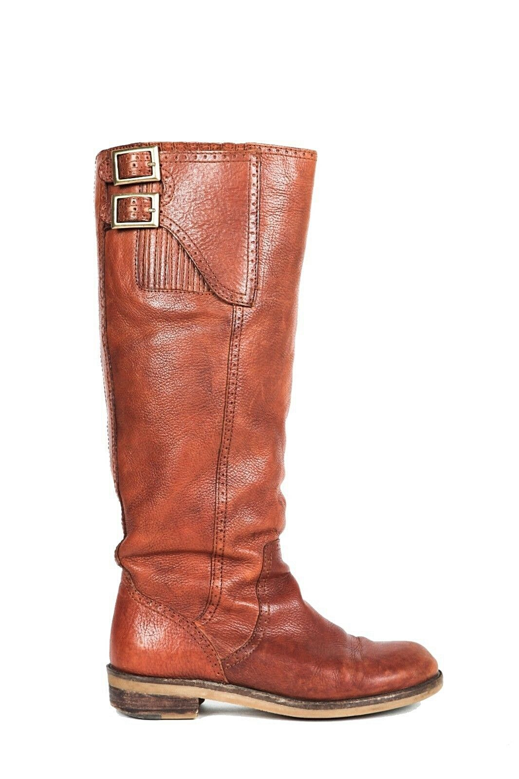 LUCKY BRAND Andria Riding Boots US 6.5 Leather Brown Buckles Knee High Low Heel