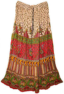 Indian-Print-Long-Skirt-Maxi-Broomstick-Women-Usa-Size-S-M-L-Free-Waist-Ethnic