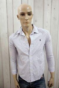 RALPH-LAUREN-Camicia-Uomo-Shirt-Casual-Cotone-Manica-Lunga-Chemise-Taglia-XS