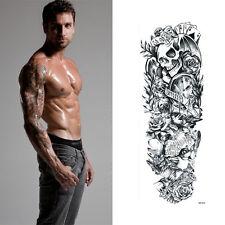 Full Arm Tattoo XXL Einmal Tattoo Skull Bat Death Timer Rose 44,5x15cm QB-3037