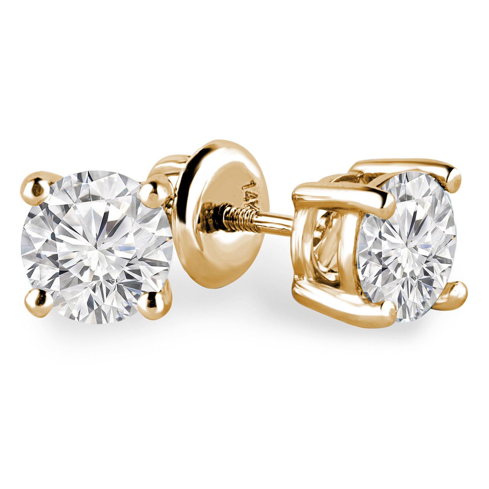 .32 CTW VS2 G ROUND DIAMOND STUD EARRINGS 14K YELLOW gold