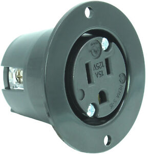 """w// 20/"""" Cord Flanged Outdoor 15 Amp 125V AC Power Outlet Waterproof Plug /& Cover"""