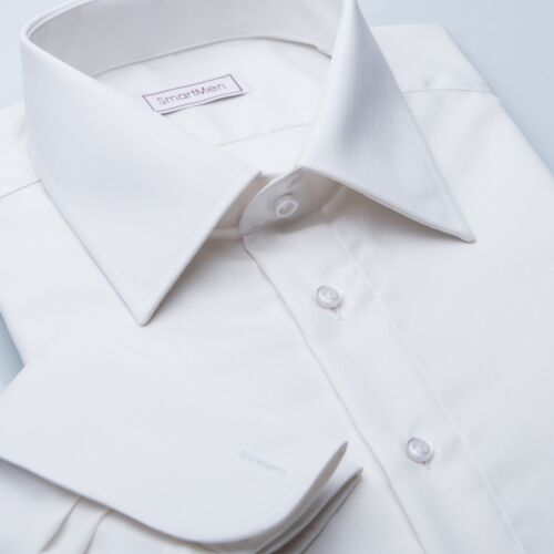 Men/'s wedding shirts cream white double cuffs Herringbone Slim fit Easy care