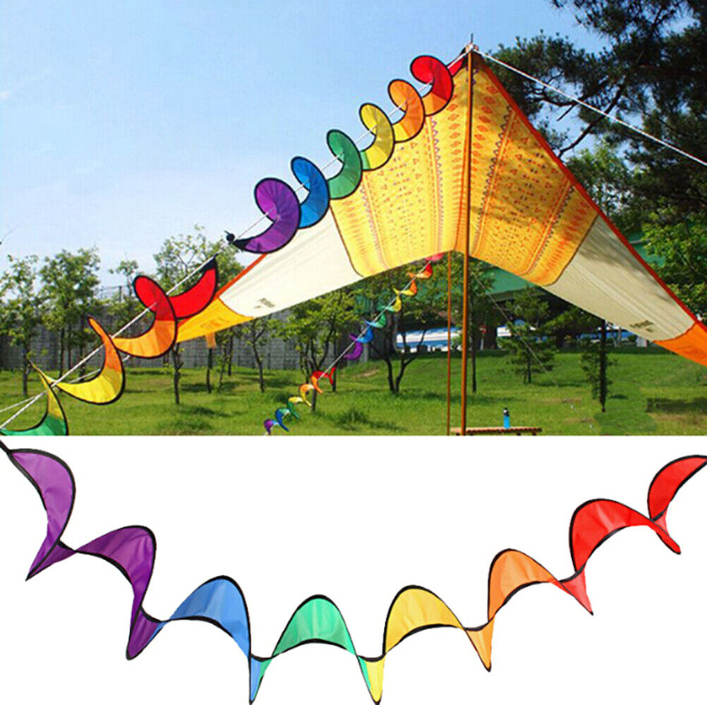 Colorful Camping Tent Foldable Spiral Windmill Wind Spinner Home Decor Toys Pb