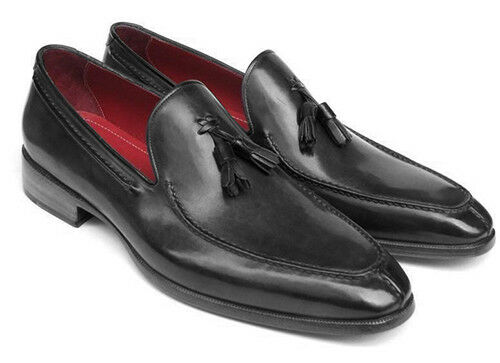 Paul Parkman Parkman Parkman Men's Tassel Loafer BLACK Hand Painted Leather (ID 083-BLACK) 090b7b