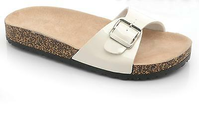 Ladies SIZE 3 - 8 White Mules Footbed Sandals NEW Buckle Slip On BOXED Womens