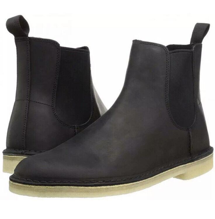 Clarks Original Desert Peak Black Leather uk Size 10 G EU 44.5. Chelsea boot